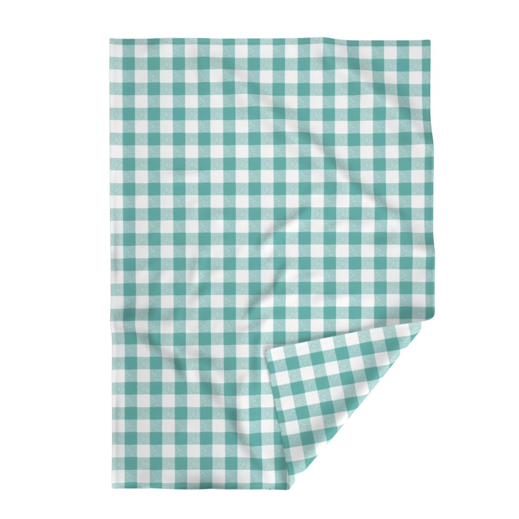 "Lakenvelder Throw Blanket featuring 2"" Buffalo Check in Aqua  by willowlanetextiles"
