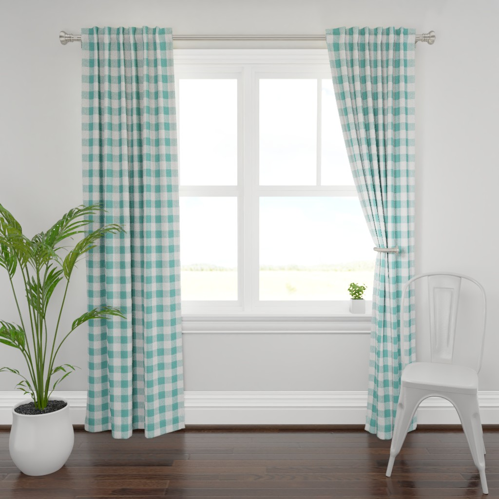 "Plymouth Curtain Panel featuring 2"" Buffalo Check in Aqua  by willowlanetextiles"