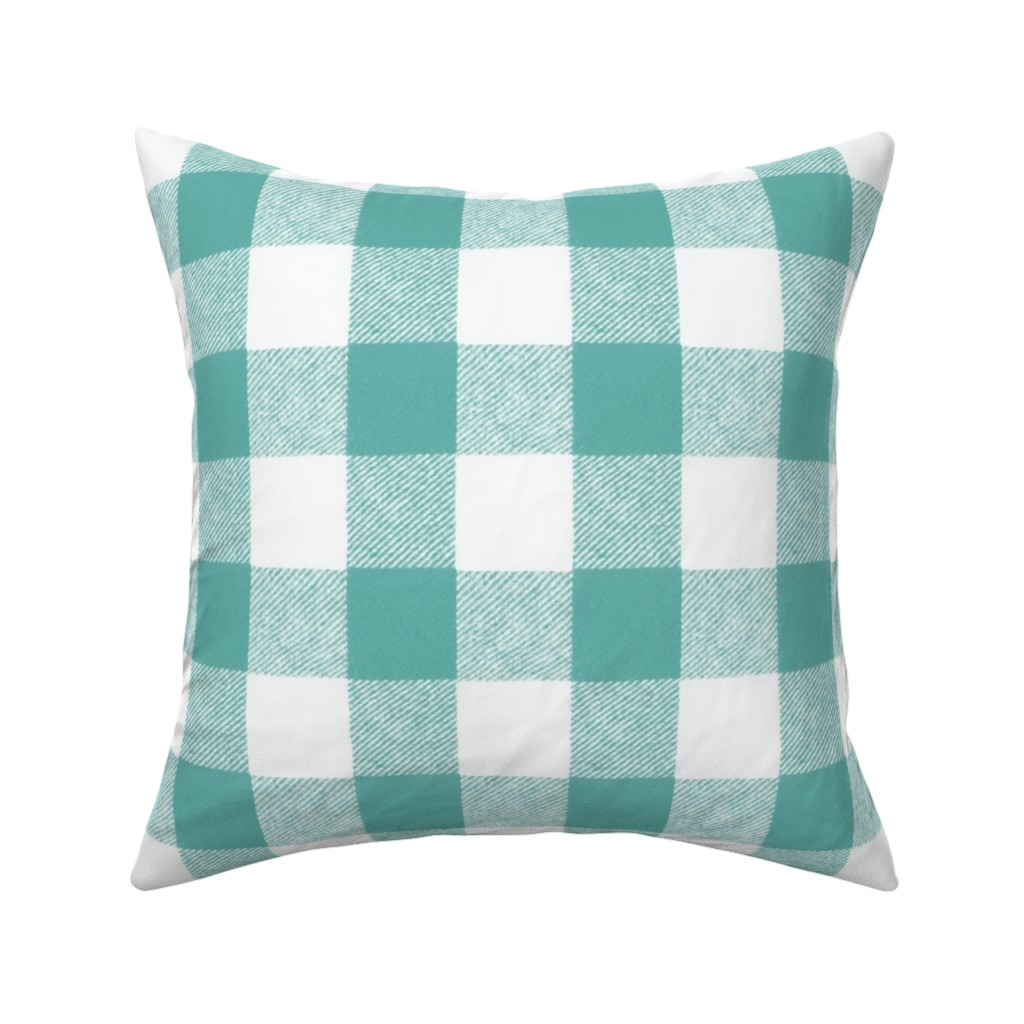 "Catalan Throw Pillow featuring 2"" Buffalo Check in Aqua  by willowlanetextiles"