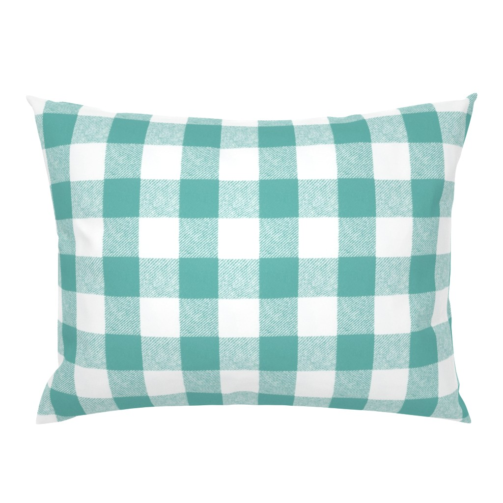 """Campine Pillow Sham featuring 2"""" Buffalo Check in Aqua  by willowlanetextiles"""