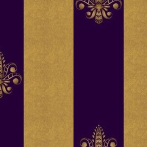 gold and royal amethyst fleur de lis 2 inch wide dblspc offset