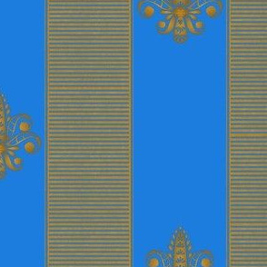 gold and bright blue fleur de lis 2 inch stripe