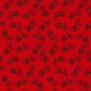 Tiny Retro Scattered Bicycles - Red