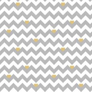heart & chevron - grey/yellow canvas - mini