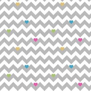 heart & chevron - grey/multi canvas - mini