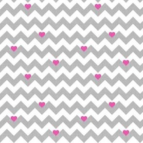 heart & chevron - grey/pink canvas - mini