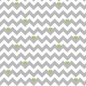 heart & chevron - grey/green canvas - mini