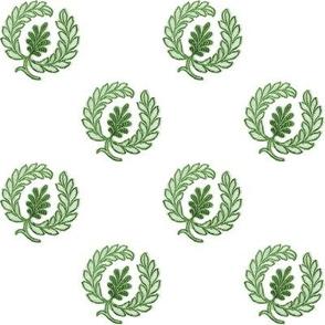 Regency Wreath Polka Dot ~ Cool Spruce on White