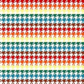 "Houndstooth - Chocolate Rainbow 1"" on White"
