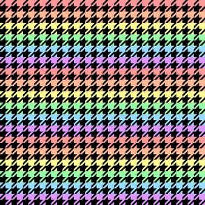 "Houndstooth - Pastel Rainbow 1"" on Black"
