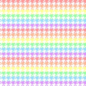 "Houndstooth - Pastel Rainbow 1"" on White"