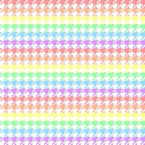 "Houndstooth - Pastel Rainbow 1"" on White"