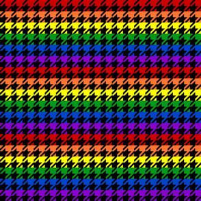 """Houndstooth - Rainbow 1"""" on Black"""