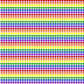"Houndstooth - Rainbow 1/2"" on White"