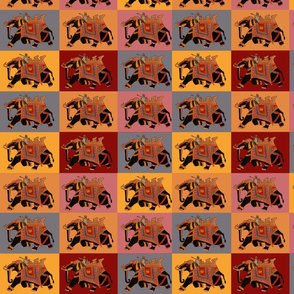 Magnificent Black Elephant on background of colored squares in orange, gold, blue, pink and red