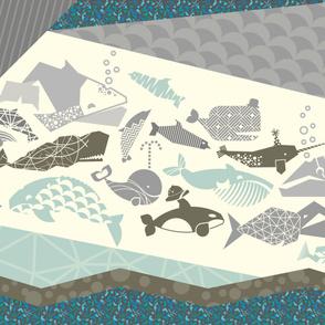 Ocean baby blanket - grey and blue