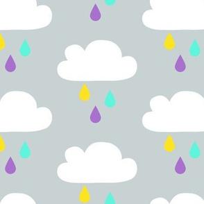 Colourful Rain - GreyBlue Big