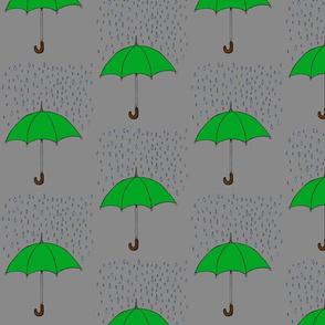 Umbrellas and Raindrops- Green