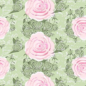 Shabby Chic Roses and green rose bouquets