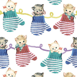 Vintage Kittens in Mittens