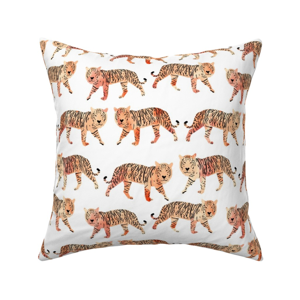 Catalan Throw Pillow featuring tigers // watercolor peach tigers animals watercolors painted animals by andrea_lauren