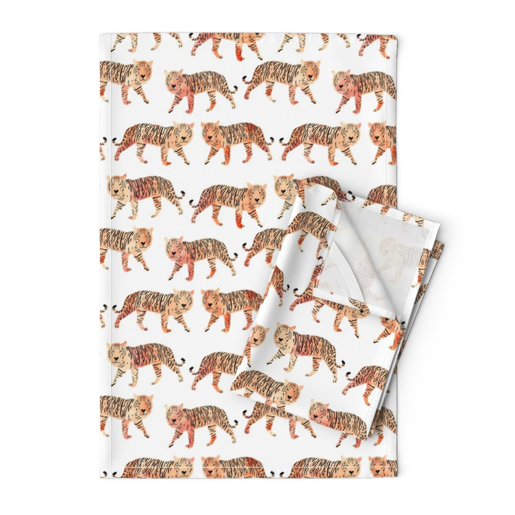 Orpington Tea Towels featuring tigers // watercolor peach tigers animals watercolors painted animals by andrea_lauren