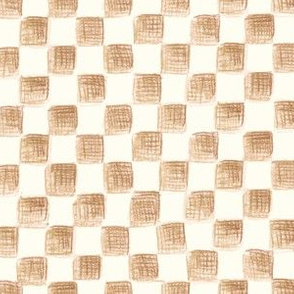 sketched checkerboard - hickory brown on white