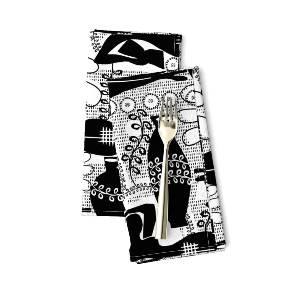 Amarela Dinner Napkins featuring Did Matisse read in the winter? black and white by ottomanbrim