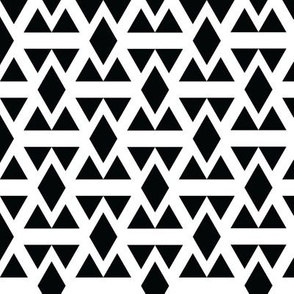 Black and White Geometric Diamonds and Triangles