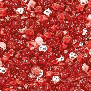 a sea of red dice