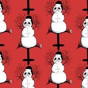 Black Metal Snowman Red