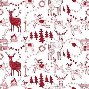 Winter toile prancing deers