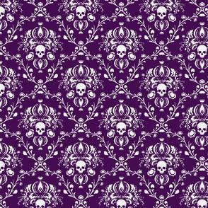 White and Purple Skull Damask