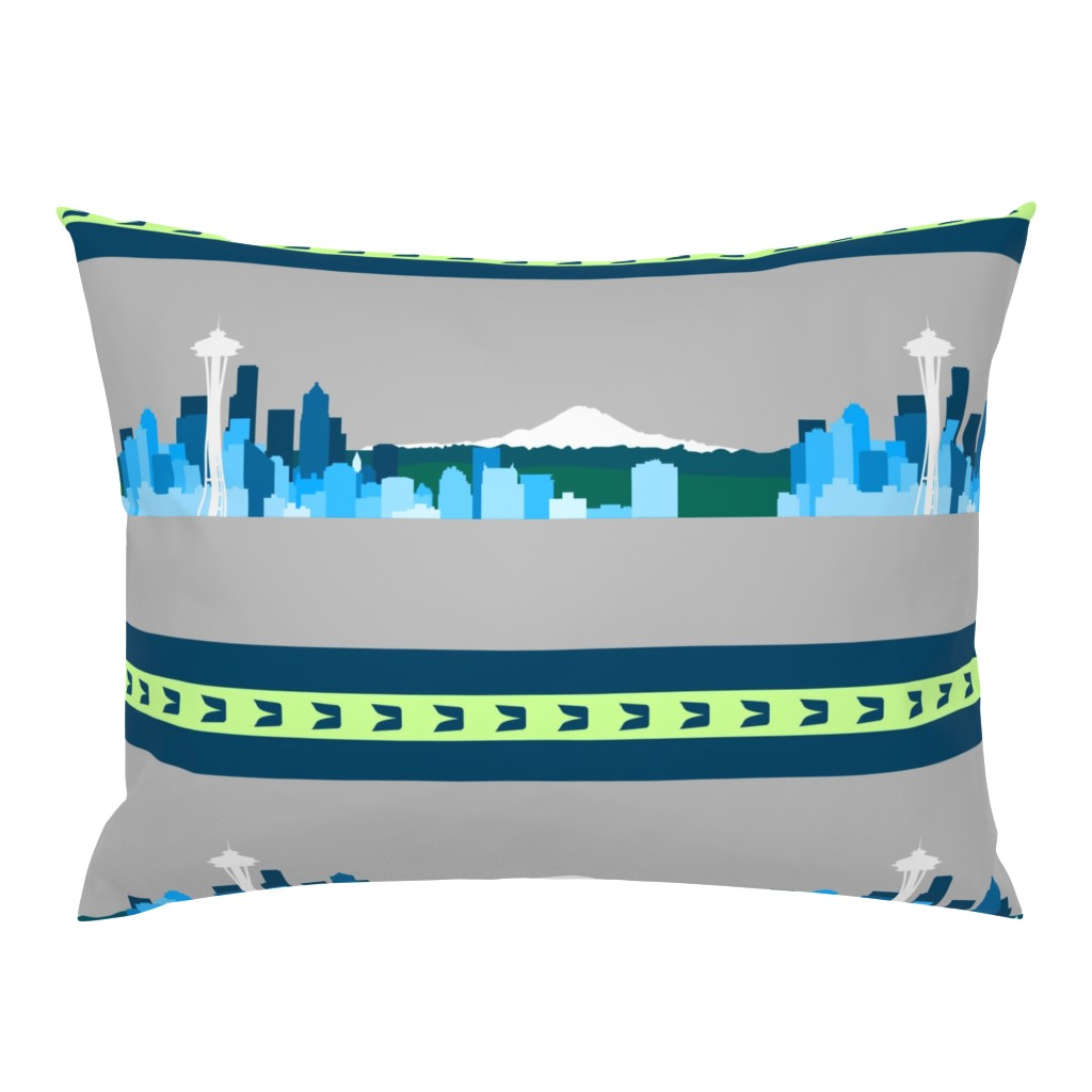 Campine Pillow Sham featuring Seattle Sports Skyline by nicoledobbins
