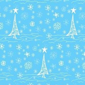 Winter Toile Christmas Trees & Snowflakes