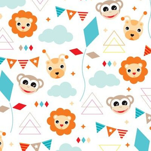 Colorful circus zoo animals party with geometric details and pastel clouds