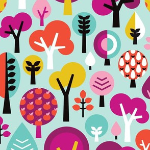 Happy little tree colorful illustration woodland forest with apples and polka dot trees