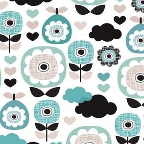 Retro poppy flower garden winter blue fruit illustration pattern