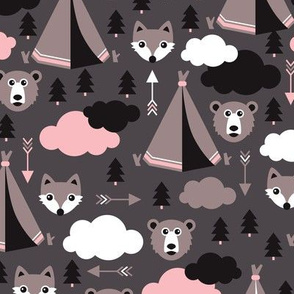 geometric teepee tent fox arrows and woodland scandinavian bear illustration pattern in pink