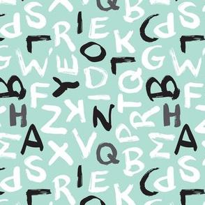 Raw brush abc alphabet blue pastel pattern