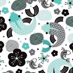 Koi Carp japanese fish illustration asian pattern print in blue