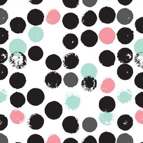 cute pink girls dots raw circle geometric abstract illustration fabric