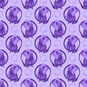 Collared Cocker Spaniel portraits - purple