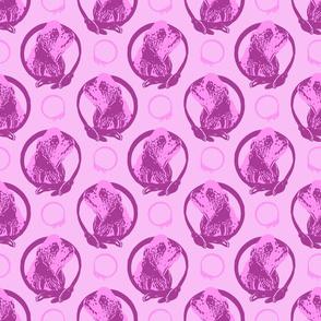 Collared Cocker Spaniel portraits - pink