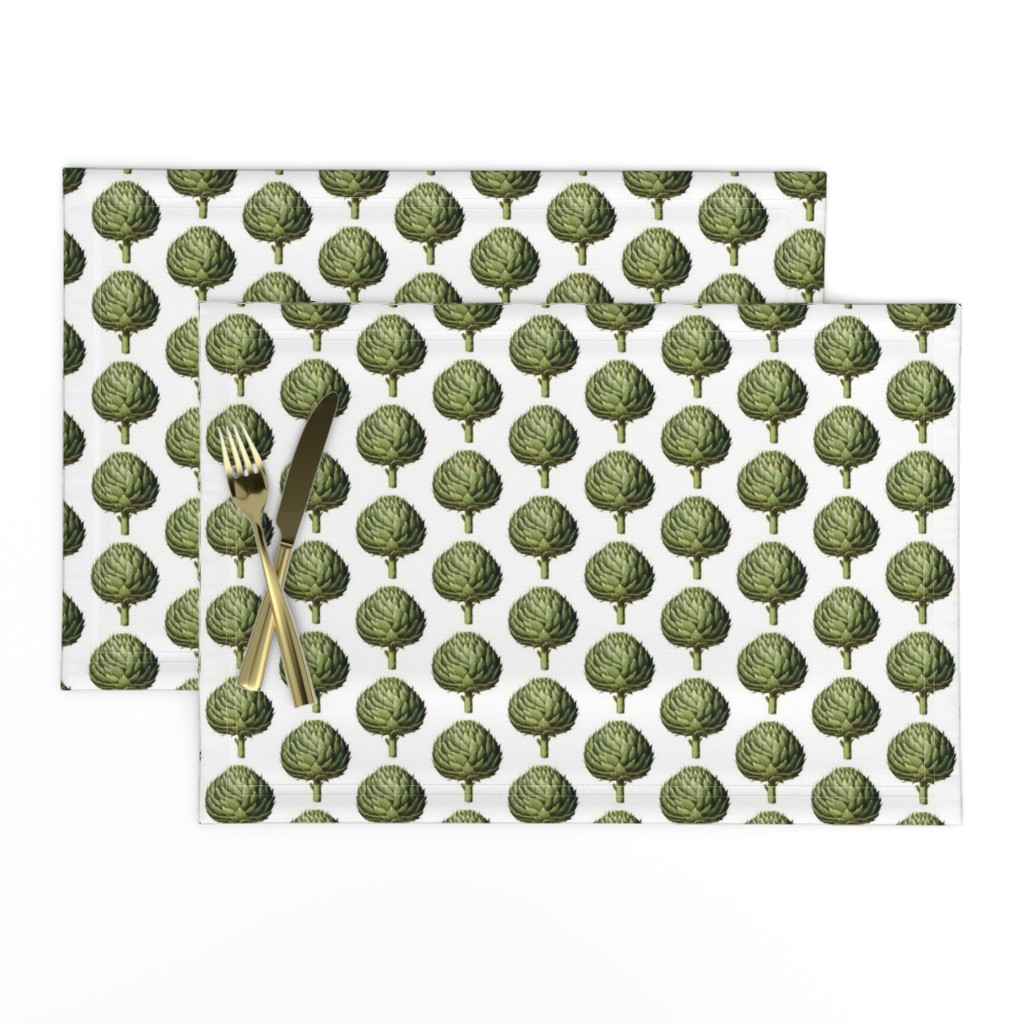 Lamona Cloth Placemats featuring Green Artichoke by grangerartondemand_com