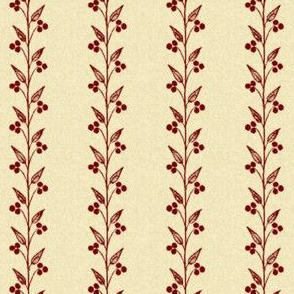 Berry Small Vines ~ Red Berries on Parchment