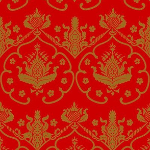Gothic Damask ~ Cologne ~ Gold Embroidery on Richelieu