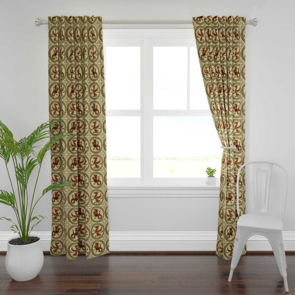 Plymouth Curtain Panel featuring 13th Century Dragon Tile  by peacoquettedesigns