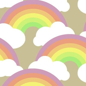 rainbows and clouds on tan