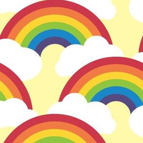 large circle rainbow - bright skies